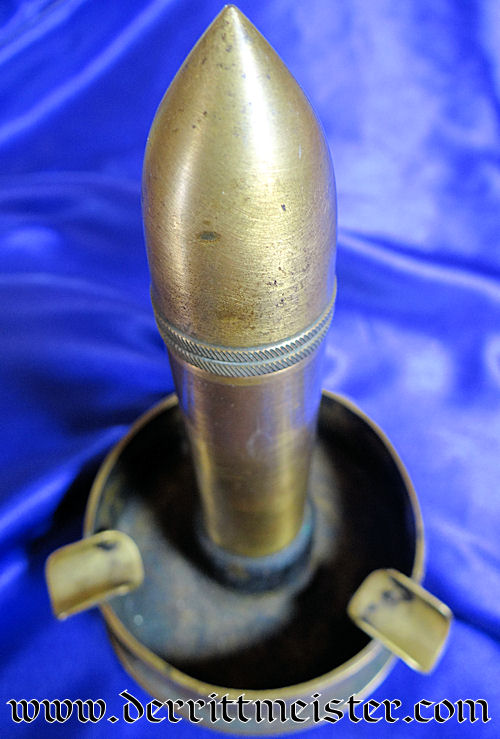 GERMANY - ASHTRAY - MADE FROM SMALL CALIBER CANNON PROJECTILE - Imperial German Military Antiques Sale