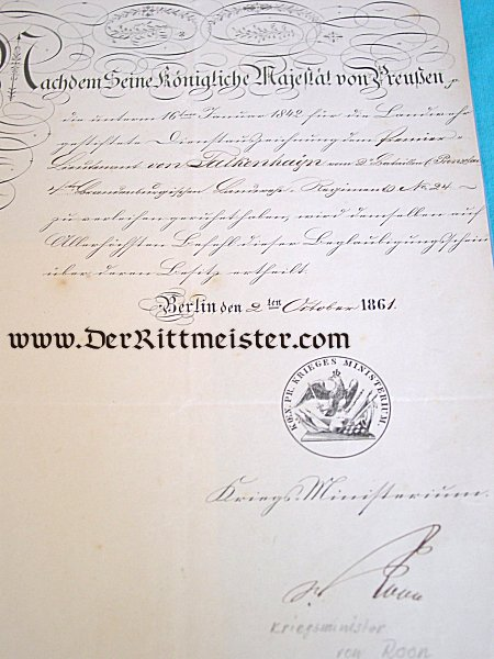 PRUSSIA - DOCUMENT GROUP TO AN OFFICER DURING THE REIGN OF KAISER (AND KING) WILHELM I AND KING FRIEDRICH WILHELM IV - Imperial German Military Antiques Sale