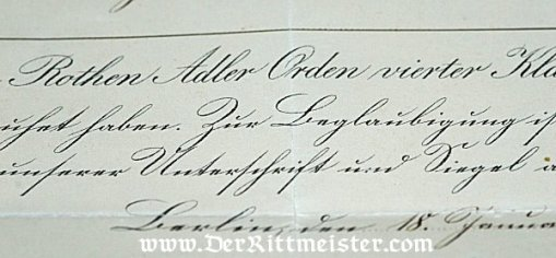 PRUSSIA - AWARD DOCUMENT FOR THE RED EAGLE 4th CLASS - Imperial German Military Antiques Sale