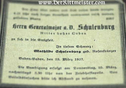 GERMANY - DOCUMENT GROUP TO GENERALMAJOR MAX SCHULENBURG - Imperial German Military Antiques Sale