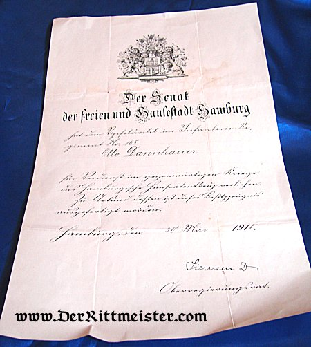 HAMBURG - AWARD DOCUMENT - HANSEATIC CROSS - Imperial German Military Antiques Sale