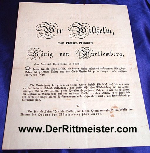 1818 PROCLAMATION INITIATING CROWN ORDER - WÜRTTEMBERG - KING WILHELM I - Imperial German Military Antiques Sale