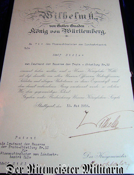 FRAMED PROMOTION PATENT - LEUTNANT der RESERVE ADOLF SIDLER - TRAIN-ABTEILUNG Nr 13 - WÜRTTEMBERG - Imperial German Military Antiques Sale