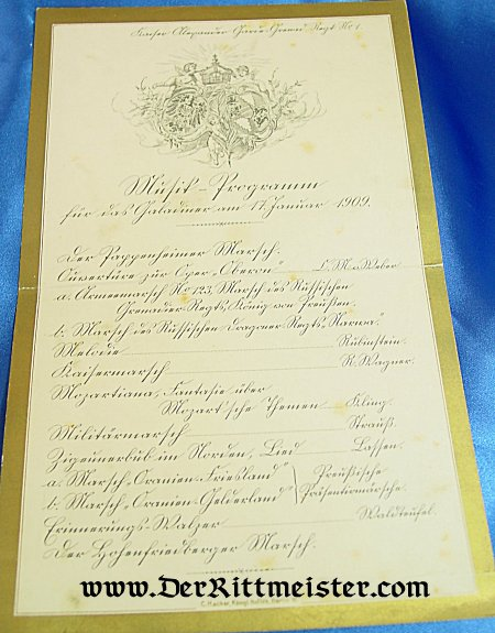 MUSIC PROGRAM - FUNCTION IN 1909 - Imperial German Military Antiques Sale