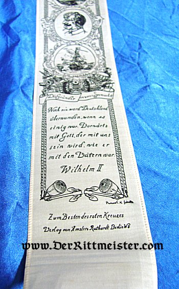 VIVAT RIBBON - KAISER WILHELM II AND THE KAISERLICHE MARINE - Imperial German Military Antiques Sale