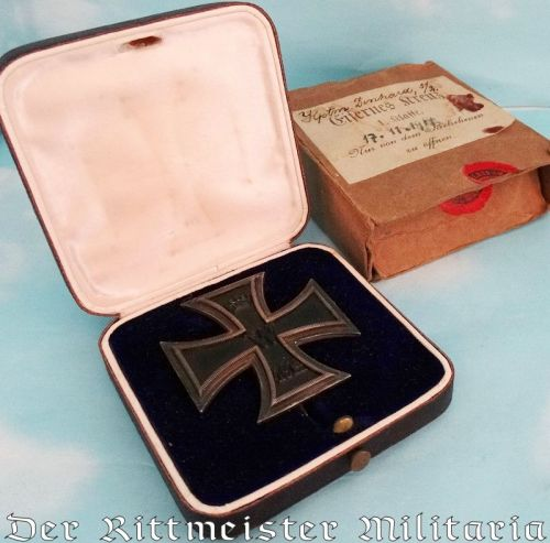 IRON CROSS - 1914 - 1st CLASS  -  IDENTIFIED  - WITH ORIGINAL PRESENTATION CASE AND CARDBOARD SHIPPING CARTON - Imperial German Military Antiques Sale