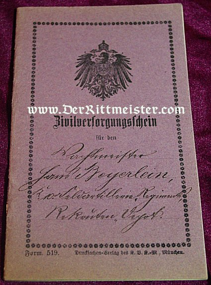 BAVARIA - CIVILIAN PASSPORT - Imperial German Military Antiques Sale