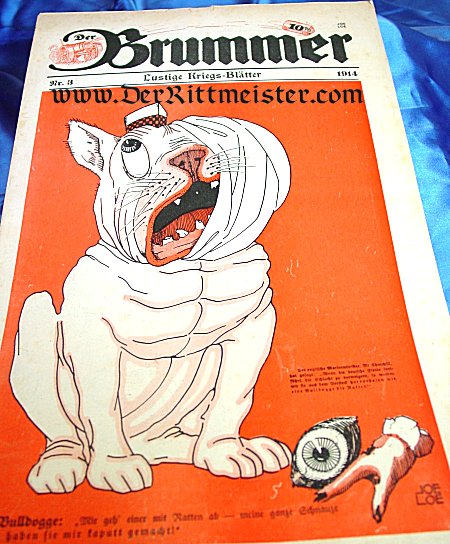 GERMANY - NEWSPAPER - DER BRUMMER - CARTOON - BRITISH BULLDOG WITH BANDAGED FACE - Imperial German Military Antiques Sale