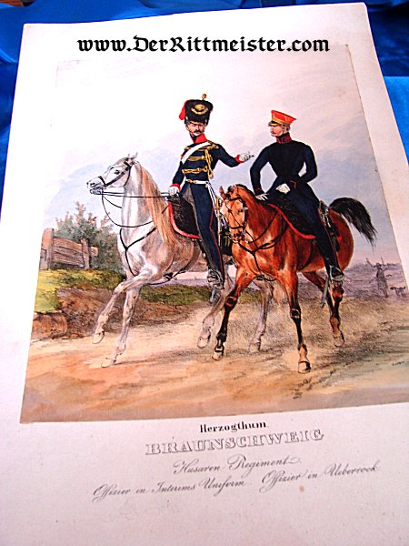 PRUSSIA - COLOR LITHOGRAPH - TWO OFFICERS - HUSAREN-REGIMENT Nr 17 - Imperial German Military Antiques Sale