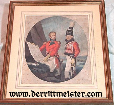 PRUSSIA - LITHOGRAPH - FRAMED - HUSAREN OFFICER AND HERZOG FRIEDRICH WILHELM - Imperial German Military Antiques Sale