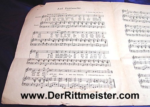 GERMANY - MUSIC SHEET- POET HERMANN LÖNS - Imperial German Military Antiques Sale
