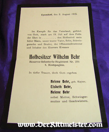 GERMANY - DEATH NOTICE - ENVELOPE - Wilhelm Behr - Imperial German Military Antiques Sale