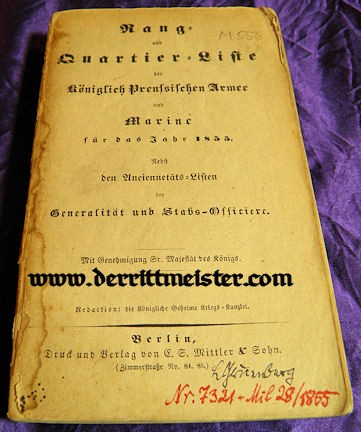 PRUSSIA - RANGLISTE - 1855 RANG und QUARTIER-LISTE - ARMY - NAVY - Imperial German Military Antiques Sale