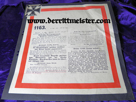 PRUSSIA - DOCUMENT - WAR COMMUNICATION - Nr 1163 - Imperial German Military Antiques Sale