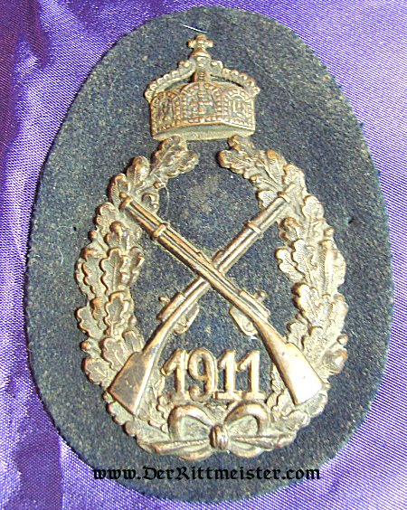 PRUSSIA - SHOOTING BADGE - KAISER WILHELM II - 1911 ANNUAL PRIZE - Imperial German Military Antiques Sale