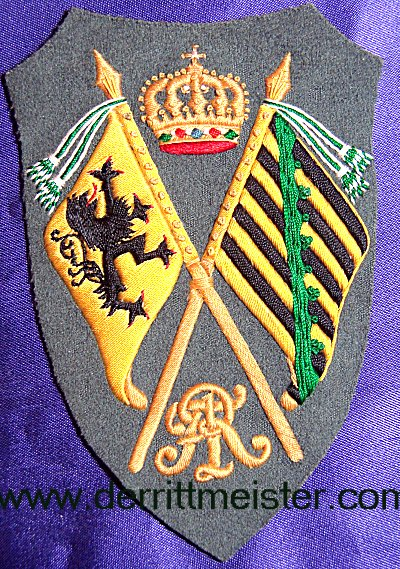 SAXONY - SLEEVE PATCH - REGIMENTAL FAHENTRÄGER - FELDGRAU - Imperial German Military Antiques Sale