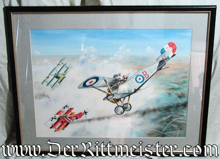 JACK D. HUNTER - ORIGINAL PAINTING  - FEATURING TWO JASTA 11 FOKKER Dr. 1's (TRIPLANES) AND ONE BRITISH NIEUPORT 17c - Imperial German Military Antiques Sale