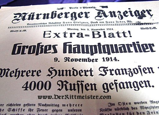GERMANY - NEWSPAPER - NOVEMBER 1914 - WAR NEWS FROM SUPREME HEADQUARTERS - ACTION - TSINGTAU - Imperial German Military Antiques Sale