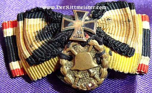 FOUR RIBBON BOUTONNIERE - ATTACHED IRON CROSS AND GOLD WOUND BADGE - Imperial German Military Antiques Sale