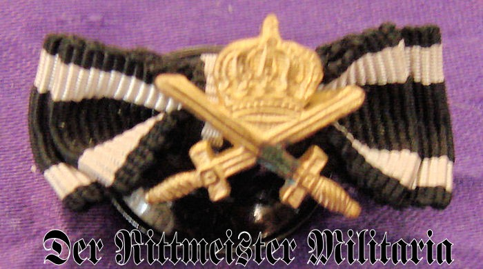 MINIATURE - HOHENZOLLERN HOUSE ORDER KNIGHT'S CROSS WITH SWORDS AND IRON  CROSS 2nd CLASS RIBBONS - Der Rittmeister Militaria LLC
