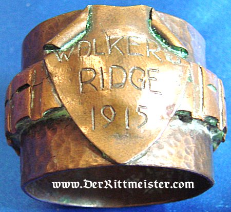 """TRENCH ART NAPKIN RING """"WALKER RIDGE 1915"""" - Imperial German Military Antiques Sale"""