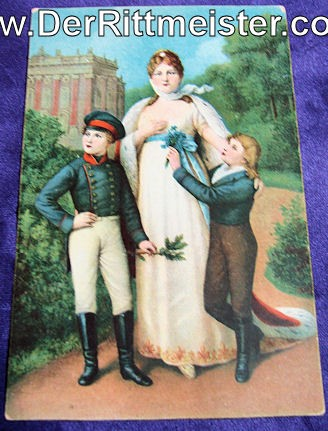 COLOR POSTCARD - KÖNIGIN LUISE - TWO SONS - Imperial German Military Antiques Sale