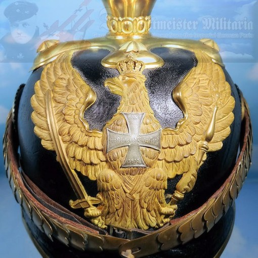 PRUSSIA - PICKELHAUBE - RESERVE OFFICER - LINE DRAGONER-REGIMENT NRs 7, 8, 11, 13, AND 14 - WITH PARADE BUSH AND SPIKE - Imperial German Military Antiques Sale
