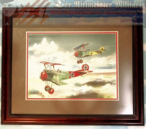 "ORIGINAL PAINTING BY JACK D. HUNTER - ""GEBRÜDER VON RICHTHOFEN"" - THE FOKKER DR. 1 TRIPLANES OF MANFRED AND LOTHAR VON RICHTHOFEN"