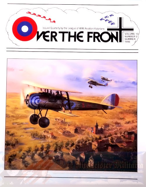 GERMANY - MAGAZINE - OVER THE FRONT: VOLUME 13, NUMBER 2 - LEAGUE OF WORLD WAR 1 AVIATION HISTORIANS - Imperial German Military Antiques Sale