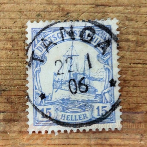 STAMP - GERMAN COLONIAL - GERMAN EAST AFRICA - 15 HELLER - POSTMARKED TANGA - Imperial German Military Antiques Sale