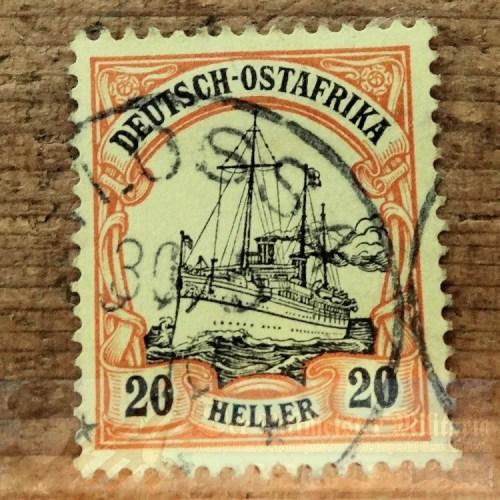 STAMP - GERMAN COLONIAL - GERMAN EAST AFRICA - 20 HELLER - POSTMARKED LOSSA - Imperial German Military Antiques Sale
