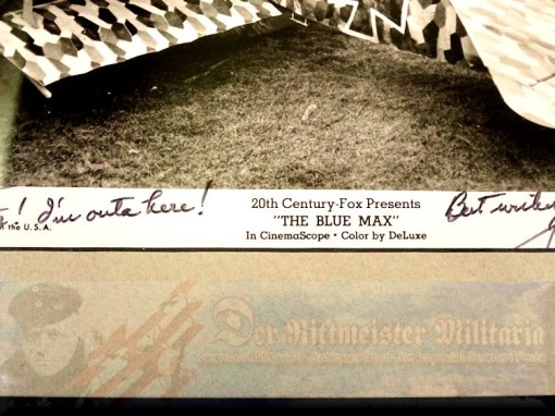 """THE BLUE MAX MOVIE STILL - FOKKER TRIPLANE PHOTOGRAPH - AUTOGRAPHED AND PERSONALIZED TO """"DER RITTMEISTER"""" - Imperial German Military Antiques Sale"""