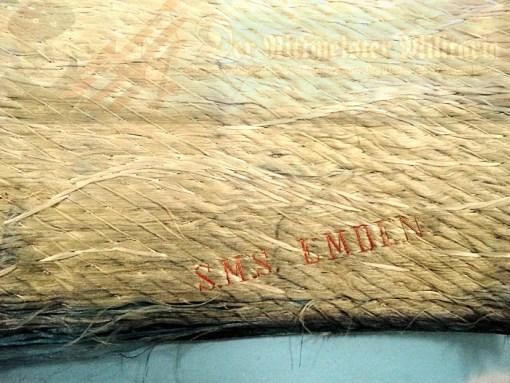 PAINTING - S.M.S. EMDEN - ENHANCED SILK THREAD - Imperial German Military Antiques Sale