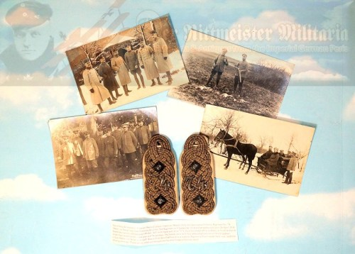 HANNOVER - SHOULDER BOARDS - IDENTIFIED M-1915 INFANTERIE-REGIMENT NR 74 - OBERST & REGIMENTSKOMMANDEUR HANS VON DEWALL'S - INCLUDES FOUR VON DEWALL AND STAFF POSTCARD PHOTOGRAPHS - Imperial German Military Antiques Sale