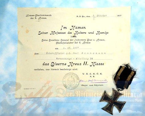 IRON CROSS - 1914 - 2nd CLASS AND AWARD DOCUMENT