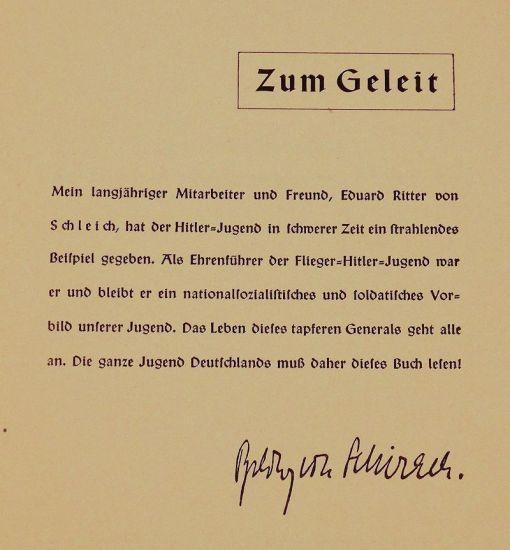 BOOK - RITTER VON SCHLEICH: JAGDFLIEGER IM WELTKRIEG UND IMDRITTEN REICH - by FRIED LANGE - Imperial German Military Antiques Sale