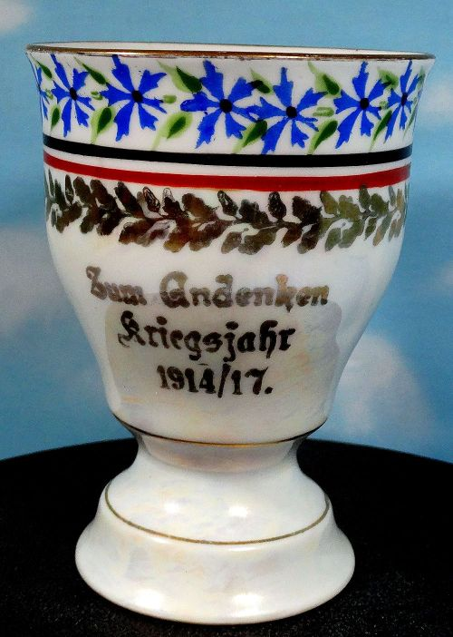 PATRIOTIC PORCELAIN WINE GOBLET - FROM NOTED FIRM H & C SELB