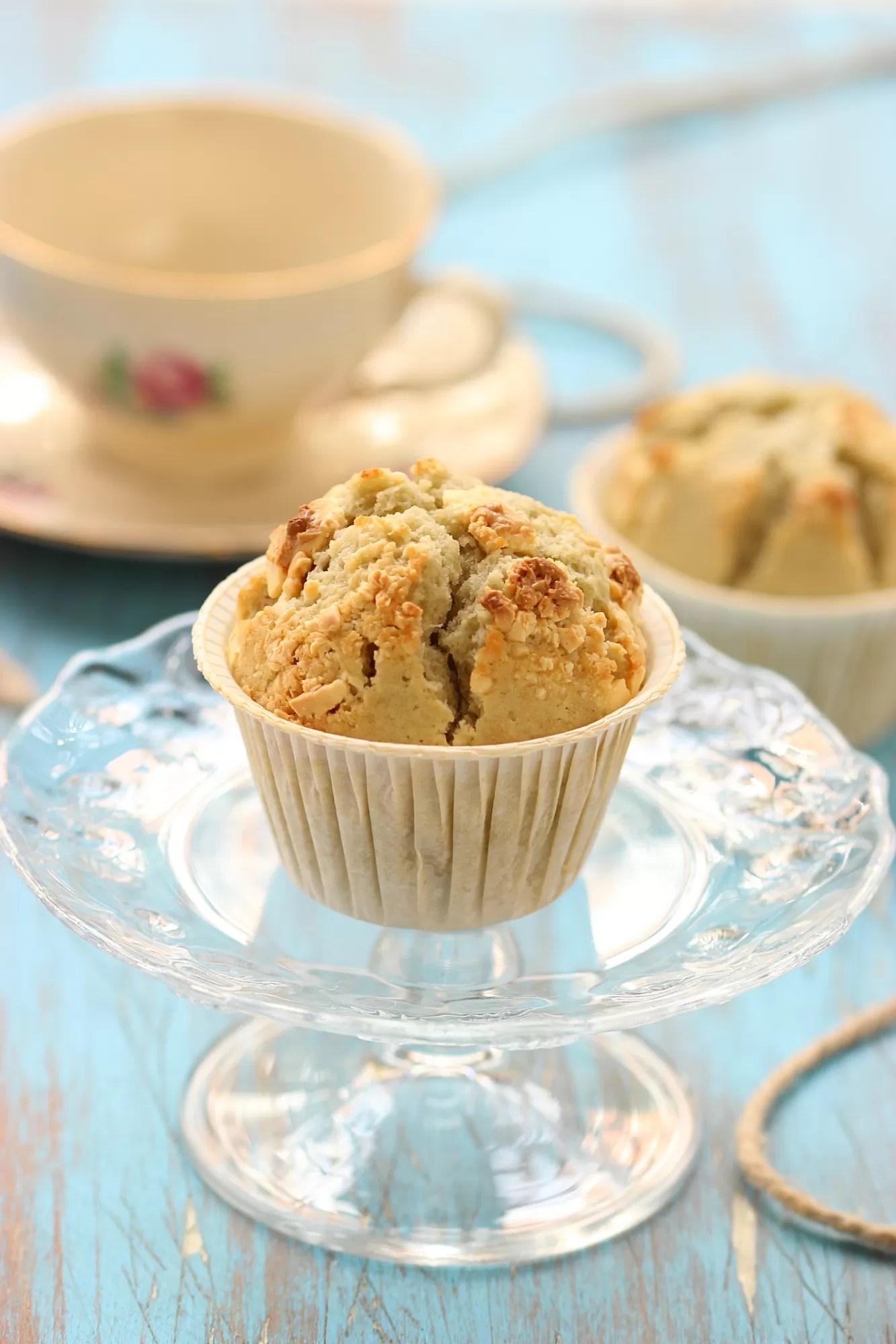 Muffin al tè verde e cioccolato bianco