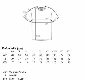Größentabelle T-Shirt Herren