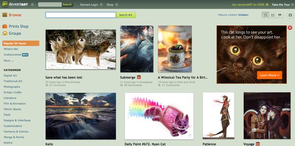 Sites para fazer portfolio online - Devian Art