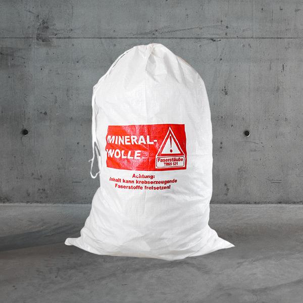 pp gewebesack mineralwolle/kmf,mineralwolle sack,kmf sack mit kordel,mineralwollen gewebesack/KMF | 1m³ 80g/m²,mineralwollen bag DESABAG