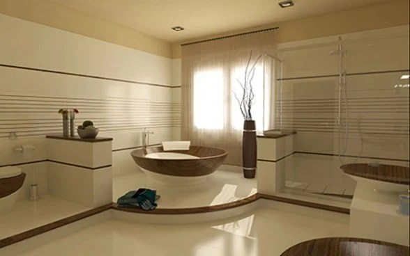 arena baño y madera