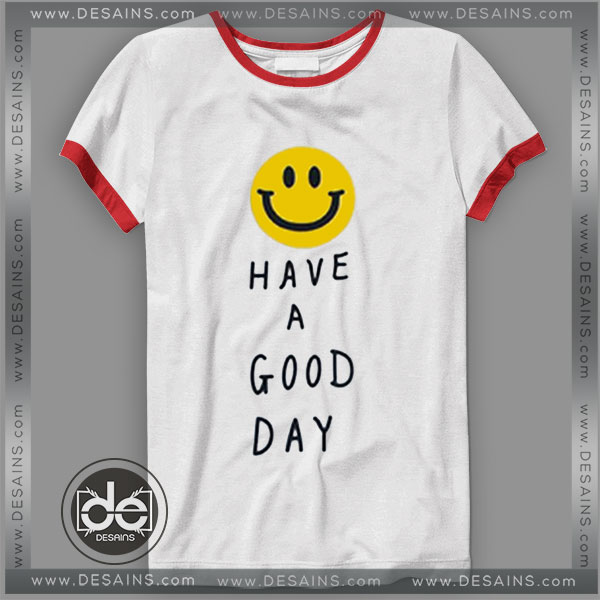 Buy Tshirt Ringer Tee Smile Have a Good Day Tshirt Ringer Womens Mens size S-3XL