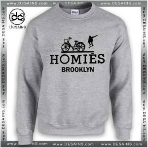Cheap Graphic Sweatshirt Homies Brooklyn Logo Hermes Parody