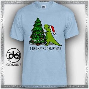 Cheap Graphic Tee Shirts T Rex Hates Christmas Funny Tshirt
