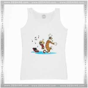 Cheap Graphic Tank Top Calvin and Hobbes Dance and Happy