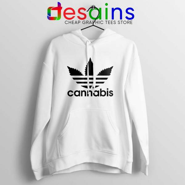 Hoodie Cannabis Leaf Adidas Cheap Hoodies Funny Parody White