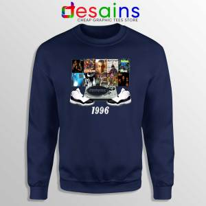 Sweatshirt 1996 Hip Hop Jordans Crewneck Navy Blue