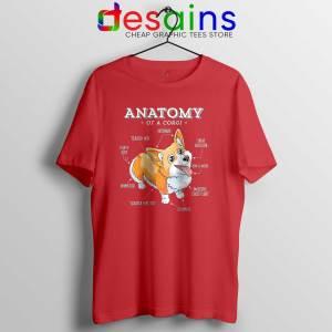 Anatomy of a Corgi Red Tee Shirt Pembroke Welsh Corgi T-Shirt
