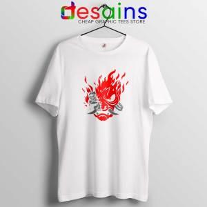 Cyberpunk 2077 White Tee Shirt Samurai Demon Slim Graphic Tshirt
